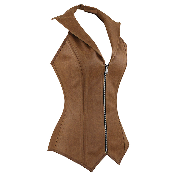 2pcs Vest Leather Corset, Steel bone Leather Corset Brown, Collar Vest Leather Corset, Halter Corset, Women