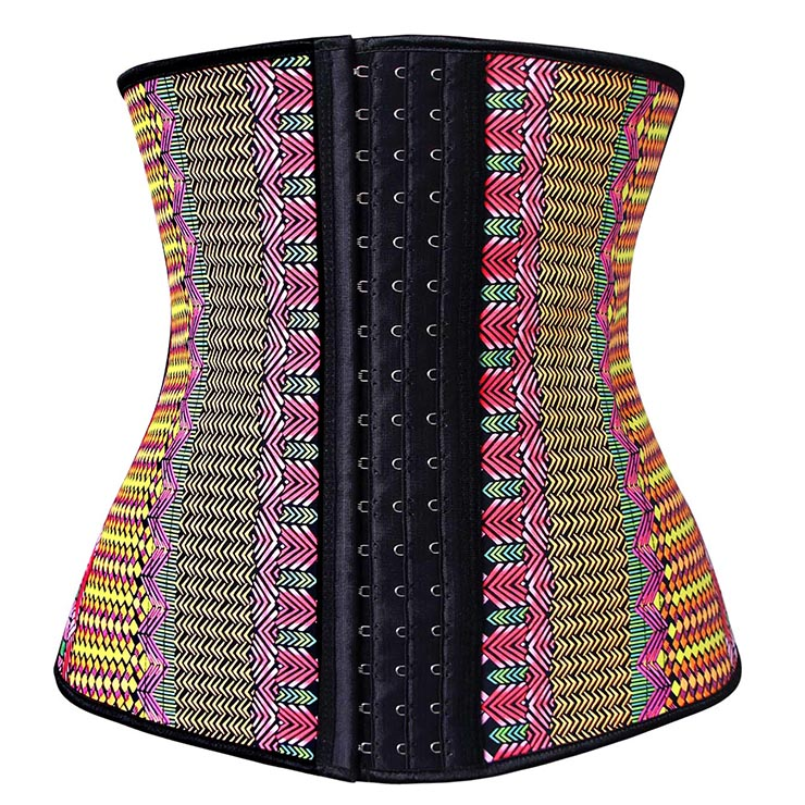 Exclusive Colorful Steel Bone Latex Geometric Patterns Underbust Corset N10320