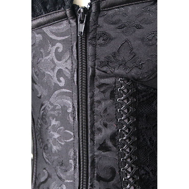 Sexy Laces Front Corset, Steel Boned Corset, Fashion Black Jacquard Overbust Corset, Brocade Lace Outerwear Corset, #N10637