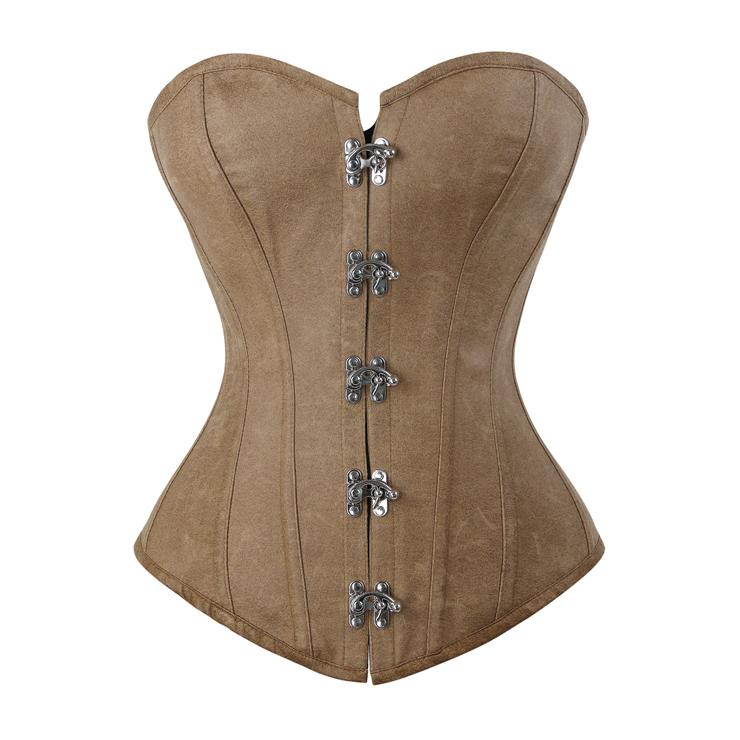 Steel Boned Fashion Retro Brown Faux Leather Corset N10960