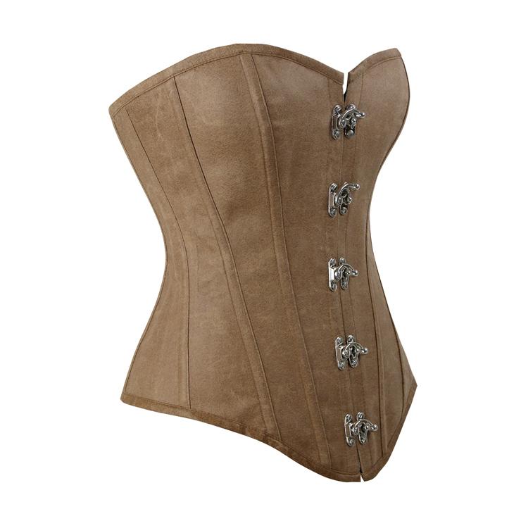 Vintage Brown Corset, Cheap Faux Leather Corset for Women