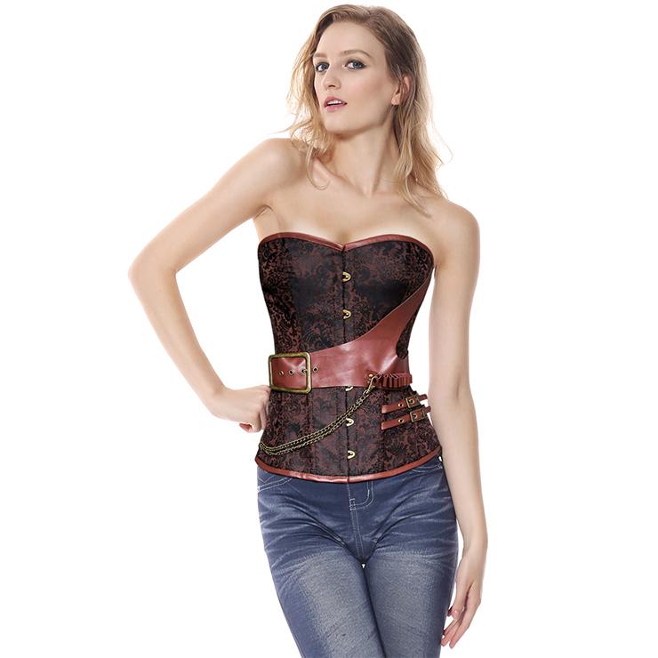 Plus Size Corset, Halloween Corset, Steel Boned Corset, Vintage Retro Corset, Fashion Corset for Womens, Steampunk Corset, Strapless Corset, #N20175