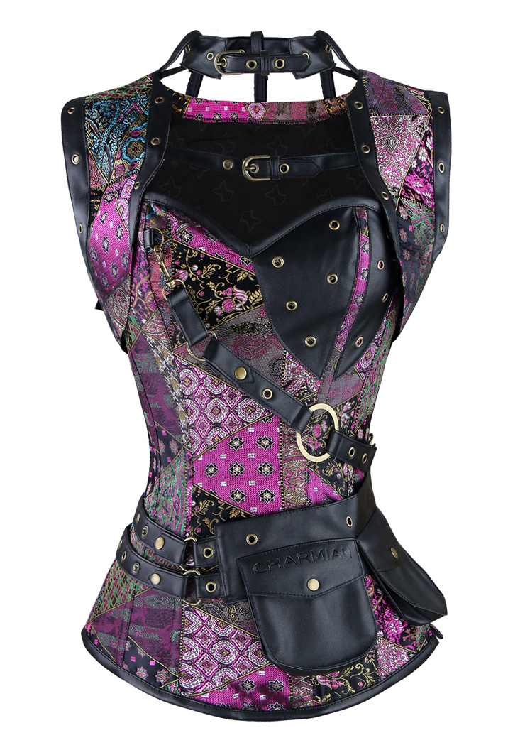 Gothic Steel Boned Corset for Women, SteamPunk Retro Overbust Corset, Steel Boned Corset bustier tops, Purple Overbust Corset Steampunk, Plus Size Corset, #N11199