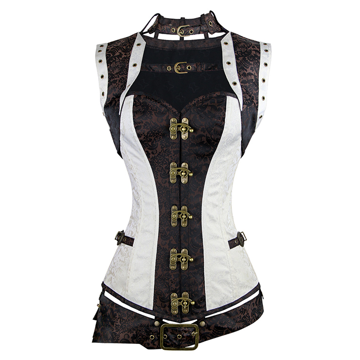 Steel Boned Steampunk Gothic Vintage Overbust Corset with belt N11349