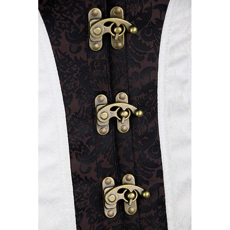SteamPunk Steel Boned Corset for Women, Gothic Retro Overbust Corset,Outerwear Overbust Steel Boned Corset,Brown Corset Steampunk,Plus Size Corset,Halloween costumes, #N11349