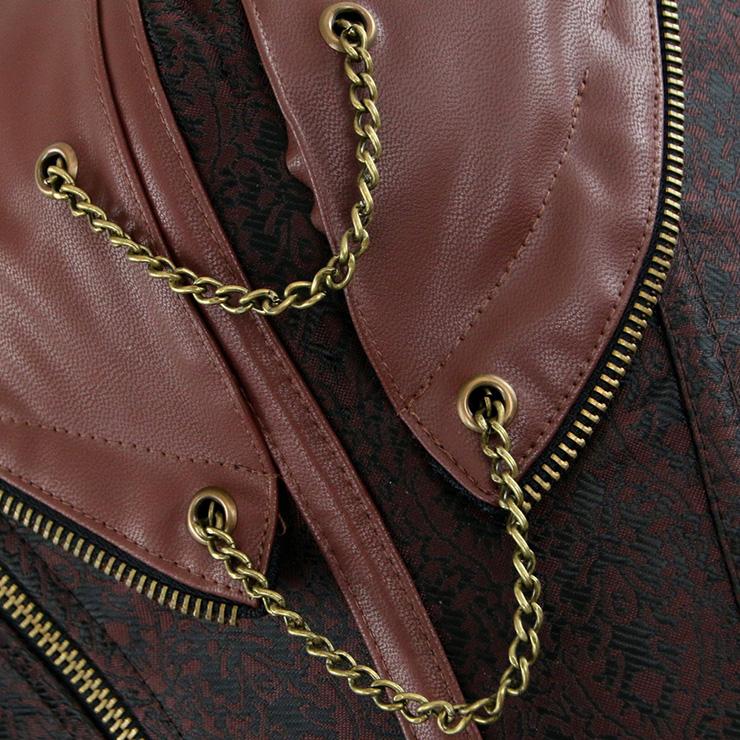 Cheap Steel Boned Corset, Vintage Brown Halter Corset, Women
