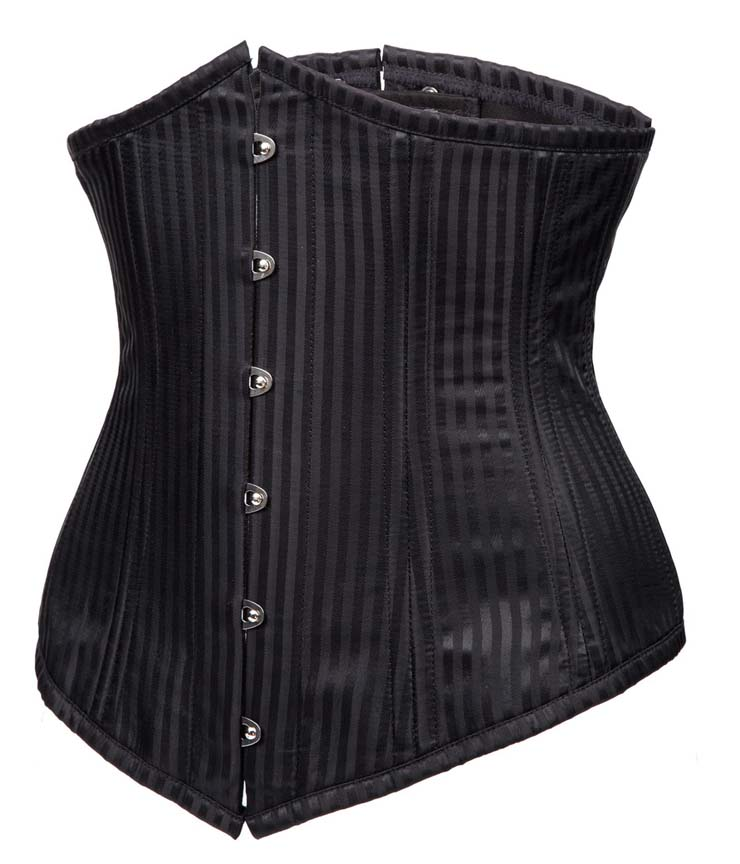 Sexy Black Underbust Corset, Waist Cincher Underbust Corset, Gothic Steel Boned Corset, Fashion Stripe Underbust Corset, #N10952