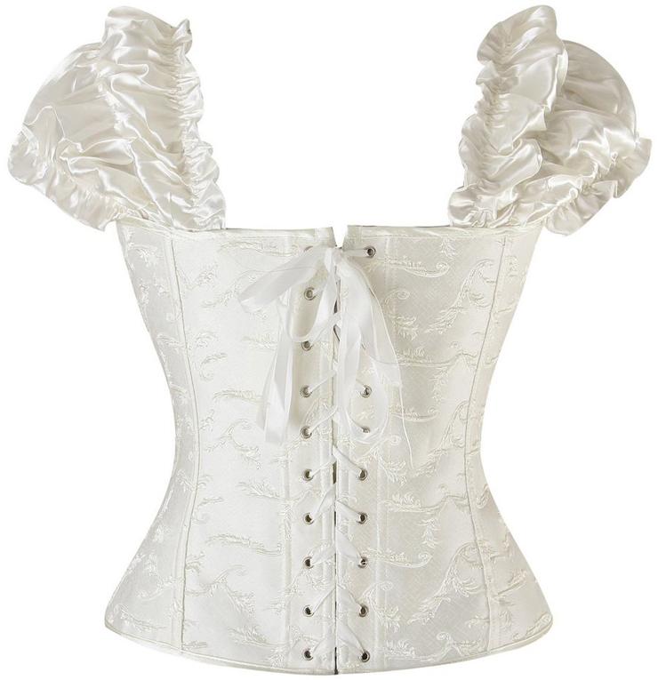 Steel Boning corset, Steel Boning White Corset, ruffle tie straps corset, #M1348