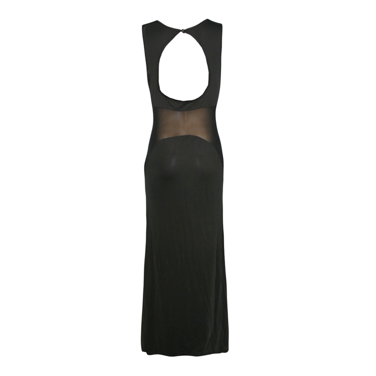 Black See-through Gown, Black Contrast Mesh Yoke Bodycon Gown, Illusion Netting Gown, #N8023