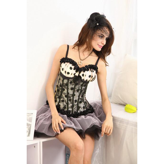 Polka Dot Satin & lace Corset, Burlesque Corset, Burlesque Polka Dot Satin Corset, #CB2711