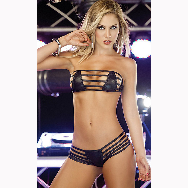 Sexy Black Strapless Hollow Out Faux Leather Bra Top and Panty Lingerie Set N16515