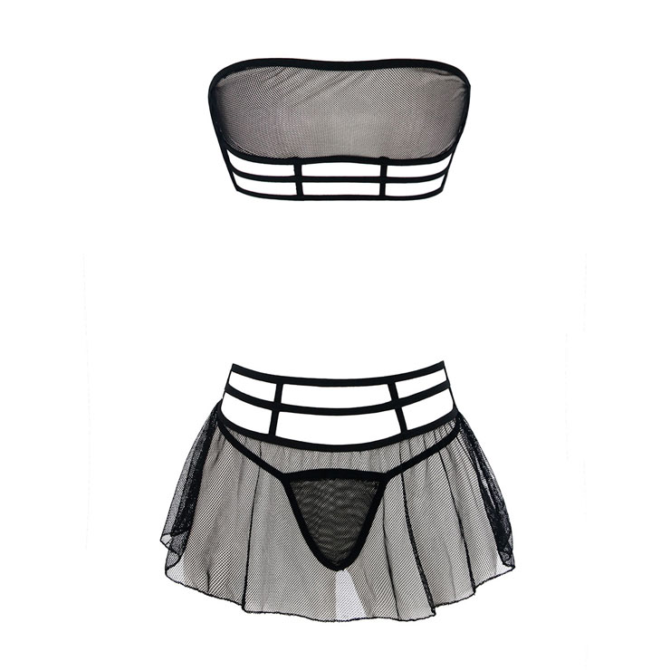 Sexy Hollow Out Mesh Lingerie Set, Sexy Black Strapless Lingerie Set, Cheap Fashion Mesh Lingerie Set, Valentine
