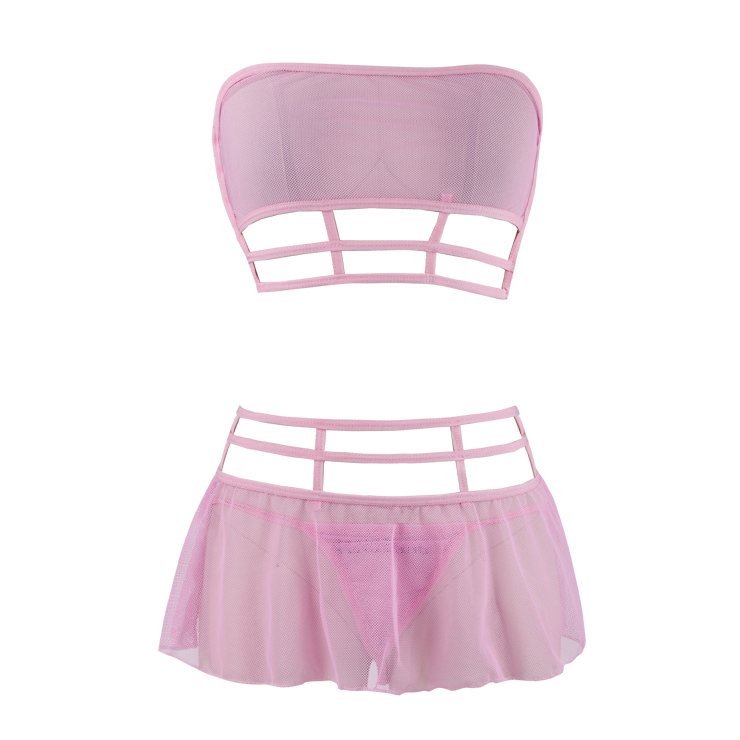 Sexy Hollow Out Mesh Lingerie Set, Sexy Pink Strapless Lingerie Set, Cheap Fashion Mesh Lingerie Set, Valentine