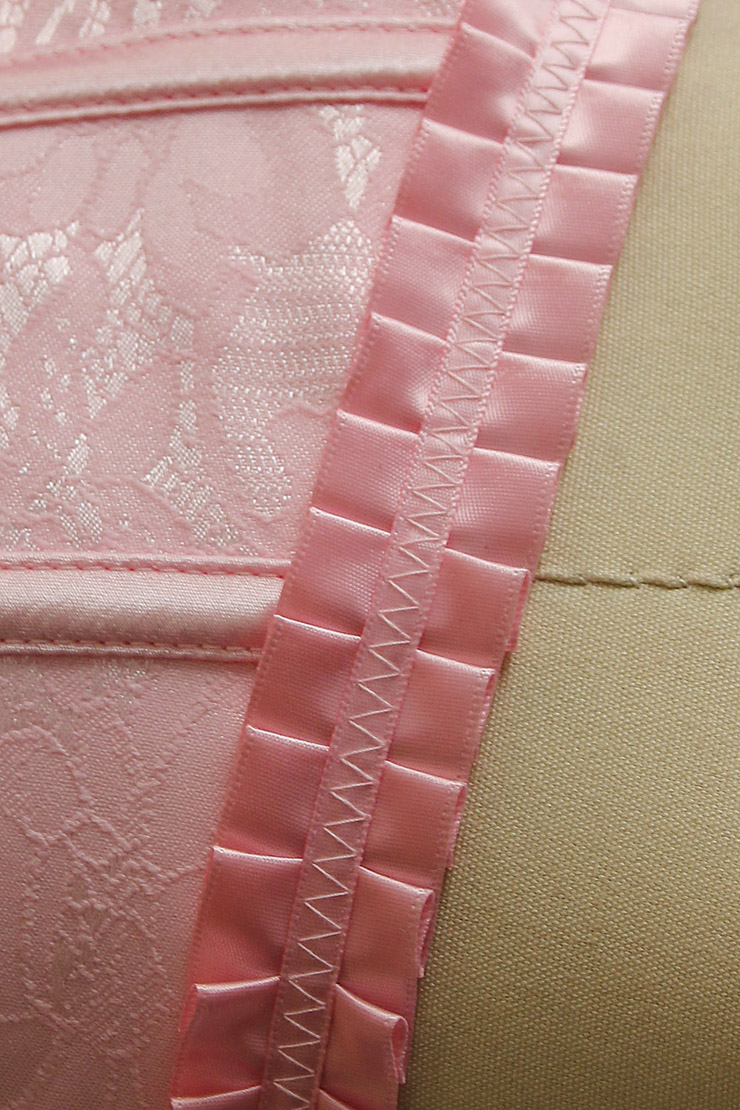 Strapless Pink Burlesque Corset, Pink Brocade Burlesque Corset with Ruffle Trim, Pink Corset, #M6528