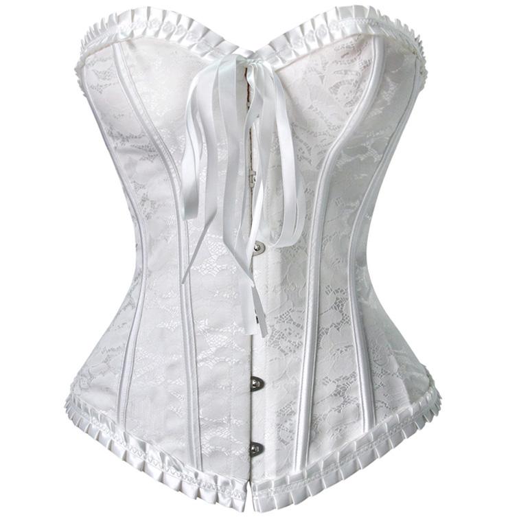 Strapless White Burlesque Corset M6529