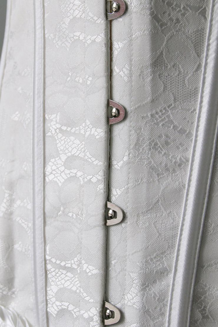 Strapless White Burlesque Corset, White Brocade Burlesque Corset with Ruffle Trim, White Corset, #M6529