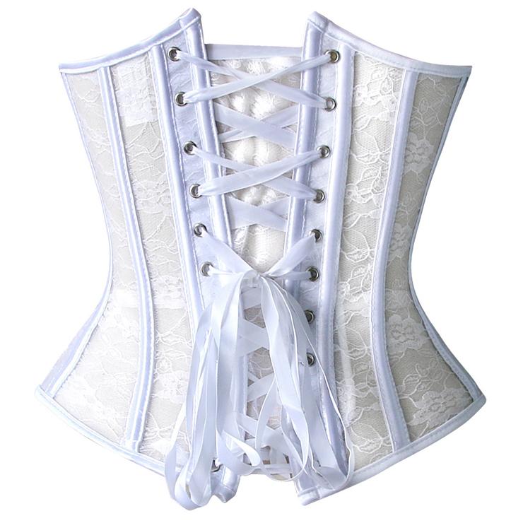 Strapless lace corset, lace corset, White Lace Corset, #N2300
