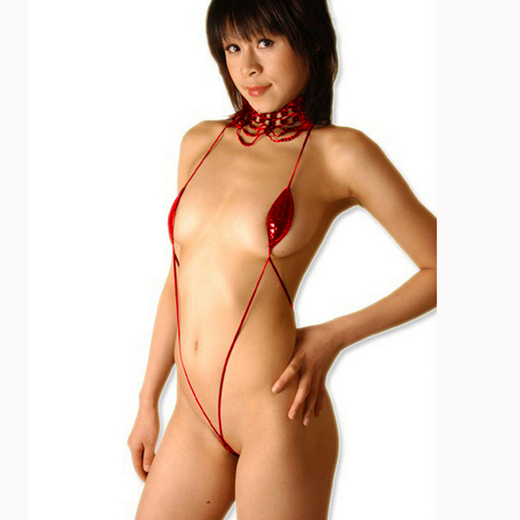 Sexy Red Strappy Hollow Out Open Bikini Faux Leather Bodysuit Lingerie N16530
