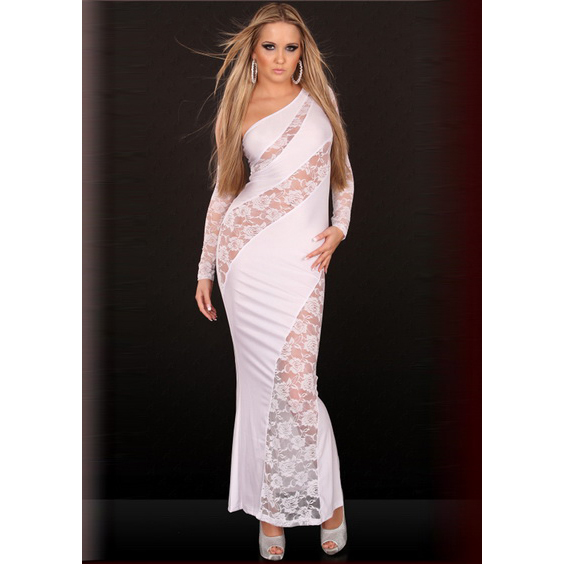 Asymmetric Cut Out Gown White N2048