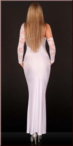 Asymmetric Cut Out Gown, White Gown, Gown, #N2048