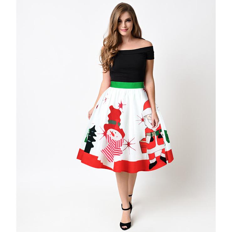 Women s cute snowman santa claus print stretchy flared a