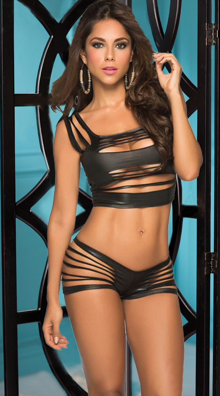 Sexy Black Top Set, Cheap Top and Panties Set, Women