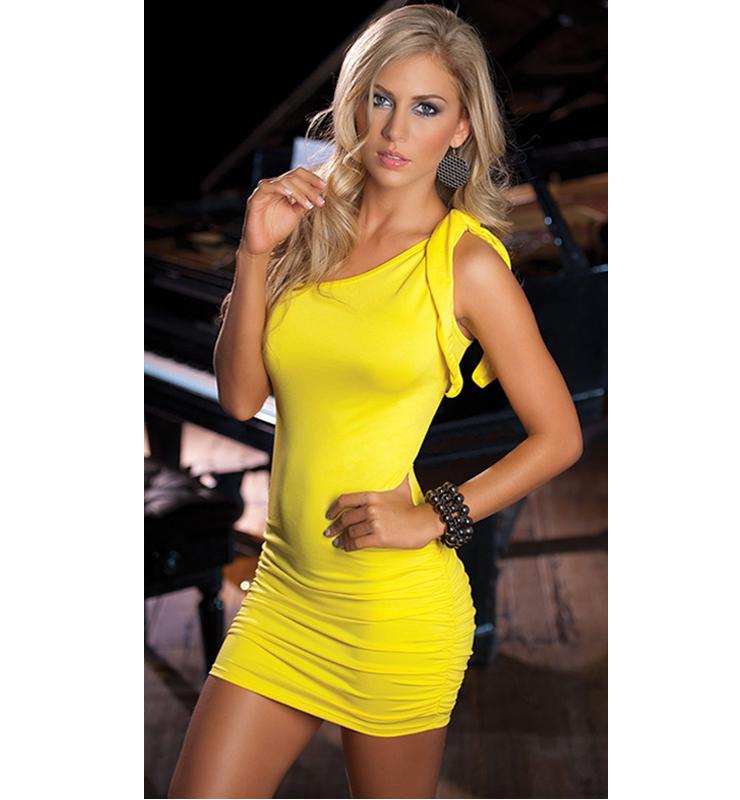 bff86ae3d1e86 Sunshine Yellow One Shoulder Dress N6742