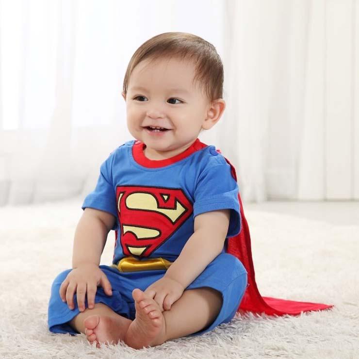 superman baby short sleeves summer romper costume n10393. Black Bedroom Furniture Sets. Home Design Ideas