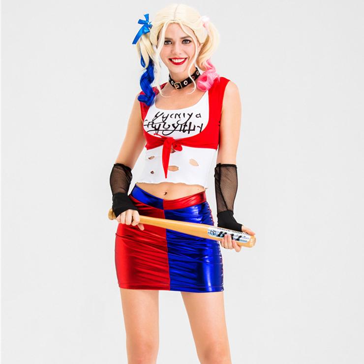Plus Size Suicide Harley Halloween Costume, Clown Cosplay Costume, Batman Harley Quinn Costume Women, Suicide Squad Costume, Evil Clown Halloween Costume, #N19879