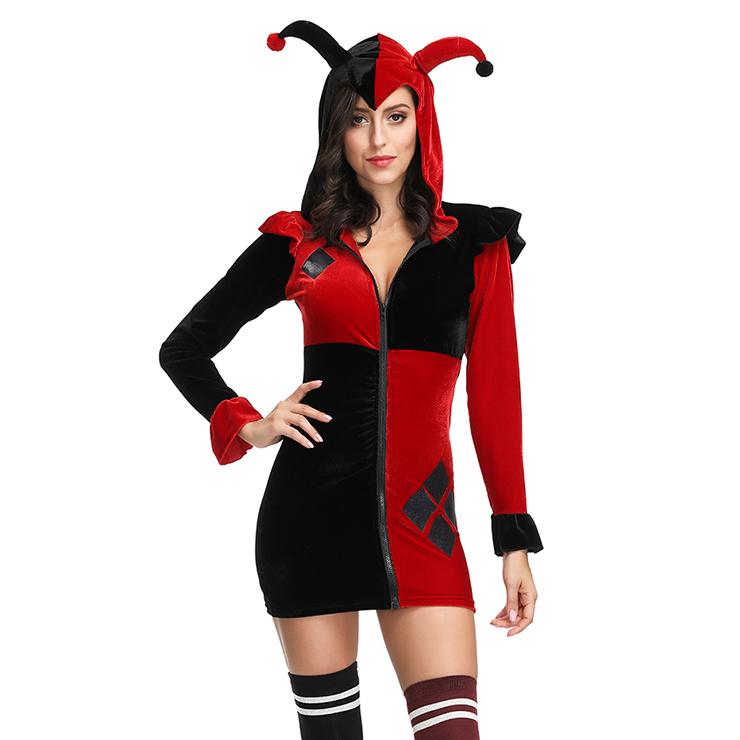 Adult Supervillain Harley Joker Black and Red Clown Hooded Mini Dress Costume N19124