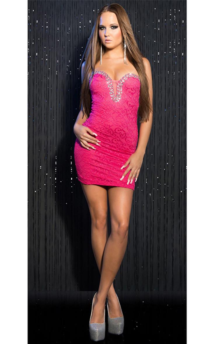 Sweet Rhinestone Studs Dress, Pink Lace Dress, Rhinestone Lace Dress, #N8208