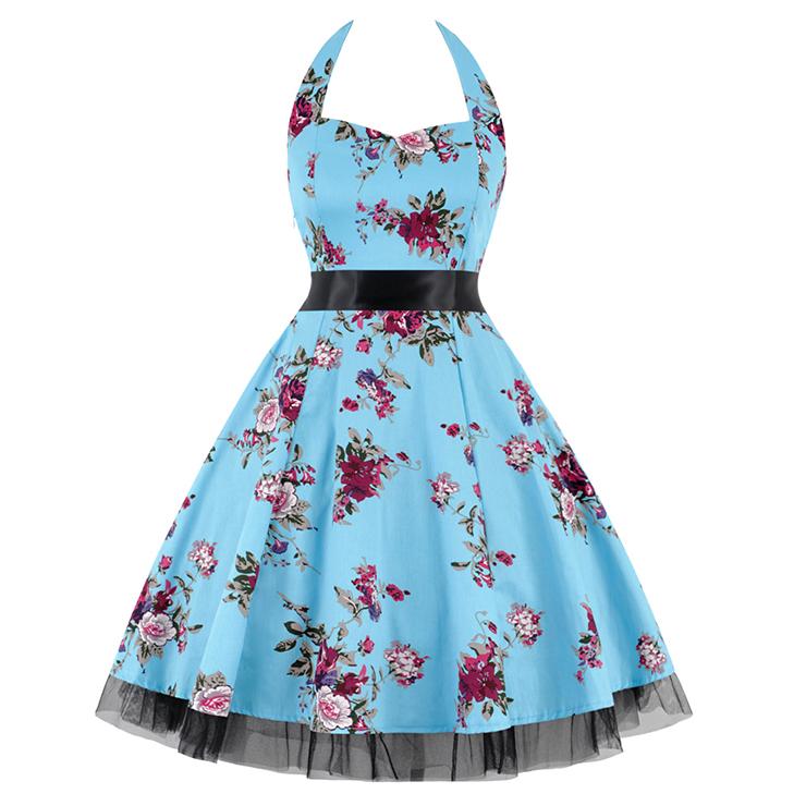 Vintage Sweetheart Neckline Halter Backless Flower Print Casual Swing Knee-length Dress N14848