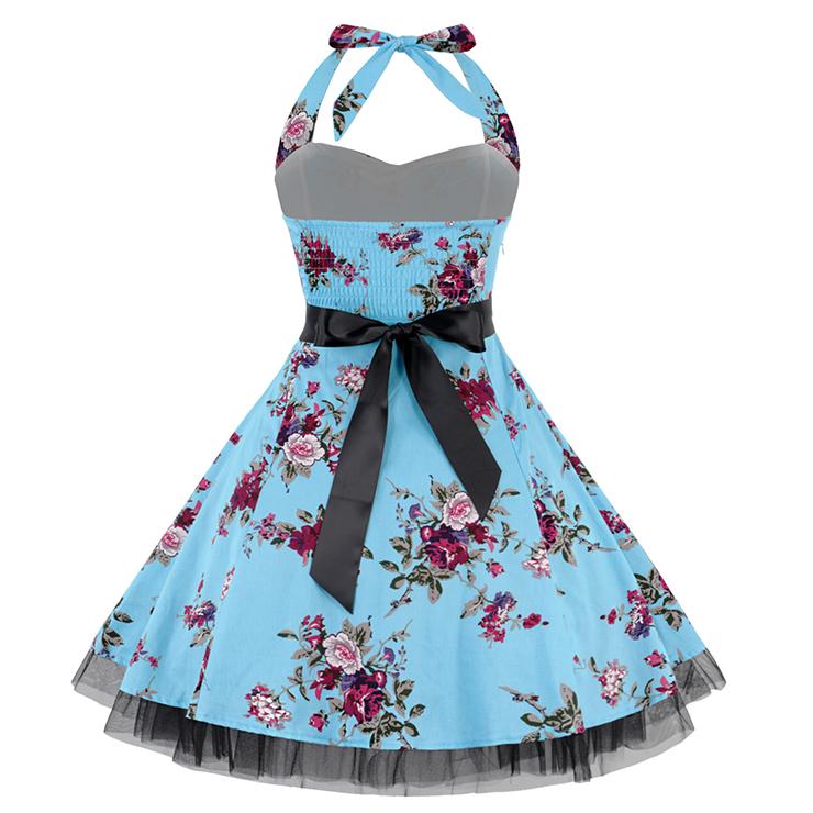 Retro Dresses for Women, Vintage Dresses for Women, Sexy Dresses for Women Cocktail Party, Casual Mini dress, Flower Print Swing Daily Dress, #N14848