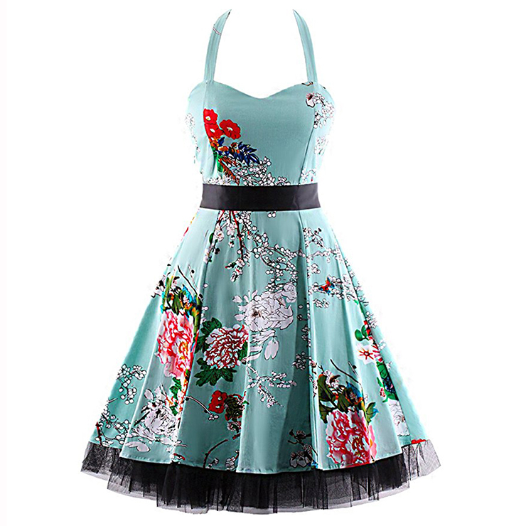 Vintage Sweetheart Neckline Halter Backless Flower Print Casual Swing Knee-length Dress N14857