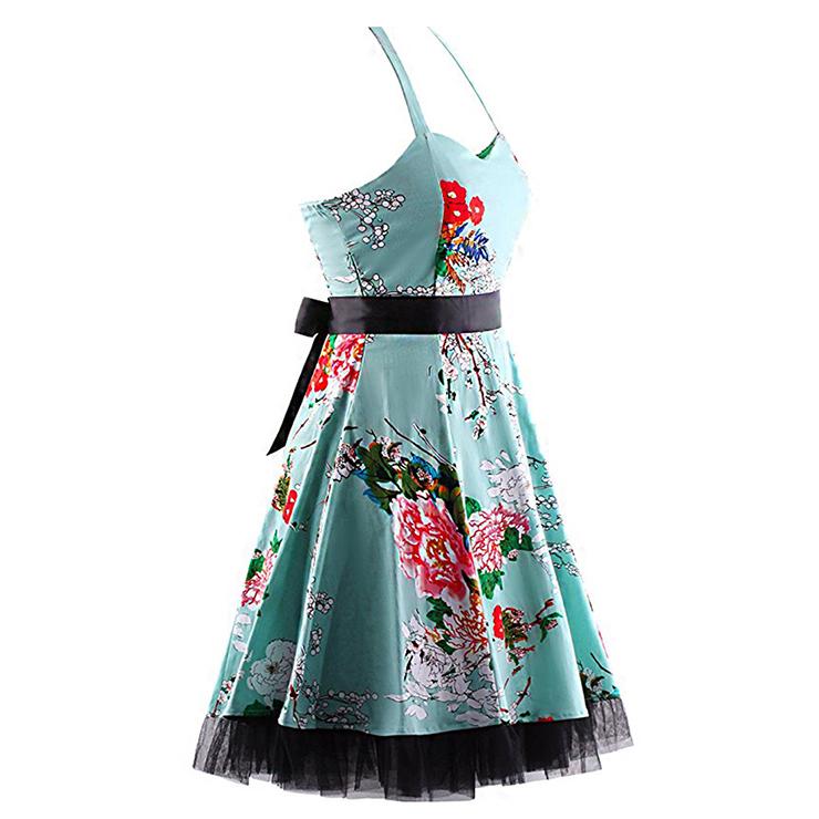 Retro Dresses for Women, Vintage Dresses for Women, Sexy Dresses for Women Cocktail Party, Casual Mini dress, Flower Print Swing Daily Dress, #N14857
