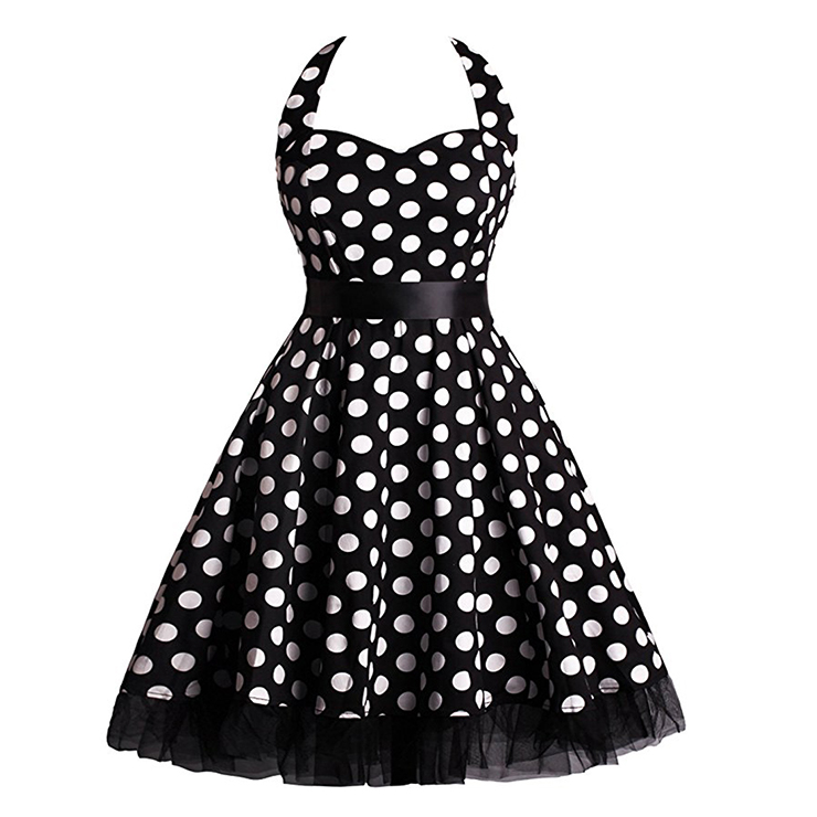 Vintage Sweetheart Neckline Halter Backless Polka Dot Casual Swing Knee-length Dress N14841