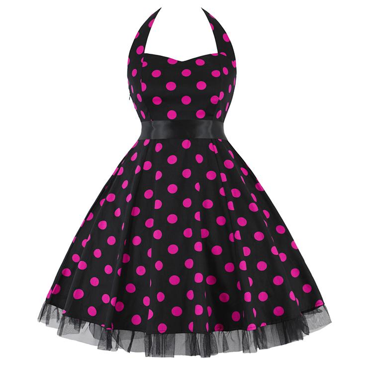 Vintage Sweetheart Neckline Halter Backless Polka Dot Casual Swing Knee-length Dress N14843