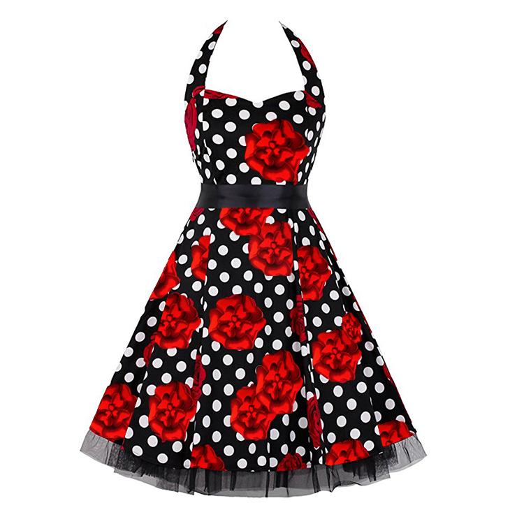 Vintage Sweetheart Neckline Halter Backless Polka Dot Flower Casual Swing Knee-length Dress N14845