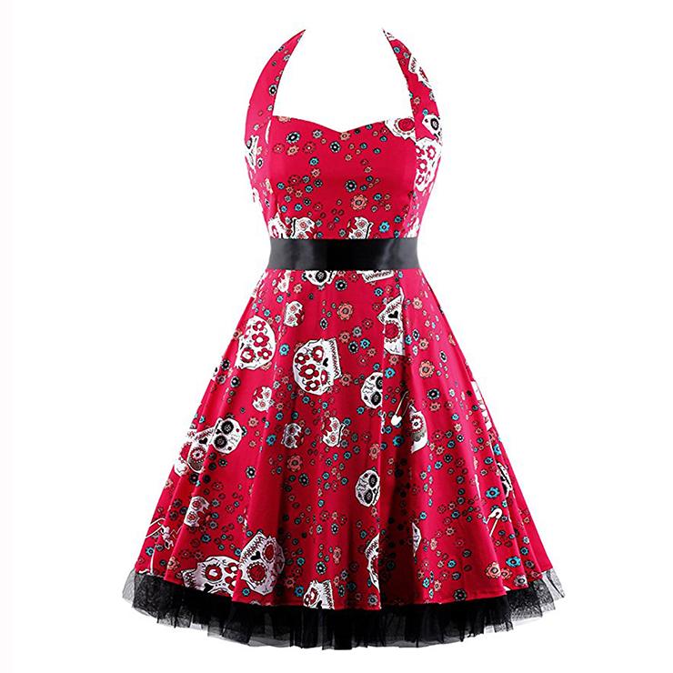 Vintage Sweetheart Neckline Halter Backless Skull Print Casual Swing Knee-length Dress N14862