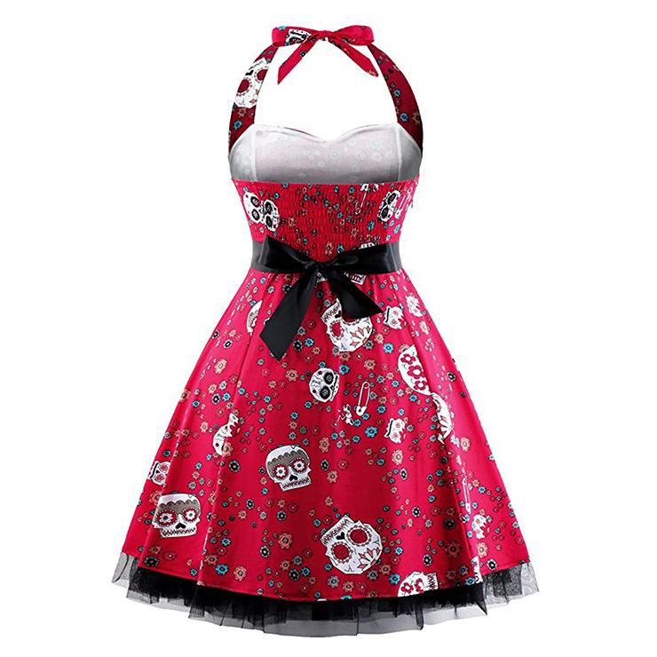 Retro Dresses for Women, Vintage Dresses for Women, Sexy Dresses for Women Cocktail Party, Casual Mini dress, Skull Print Swing Daily Dress, #N14862