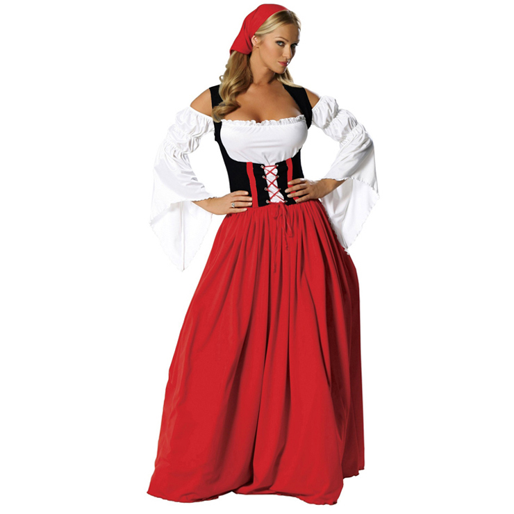 Women's Oktoberfest Red White Maxi Off Shoulder Girdling Country Girl Costume N5979