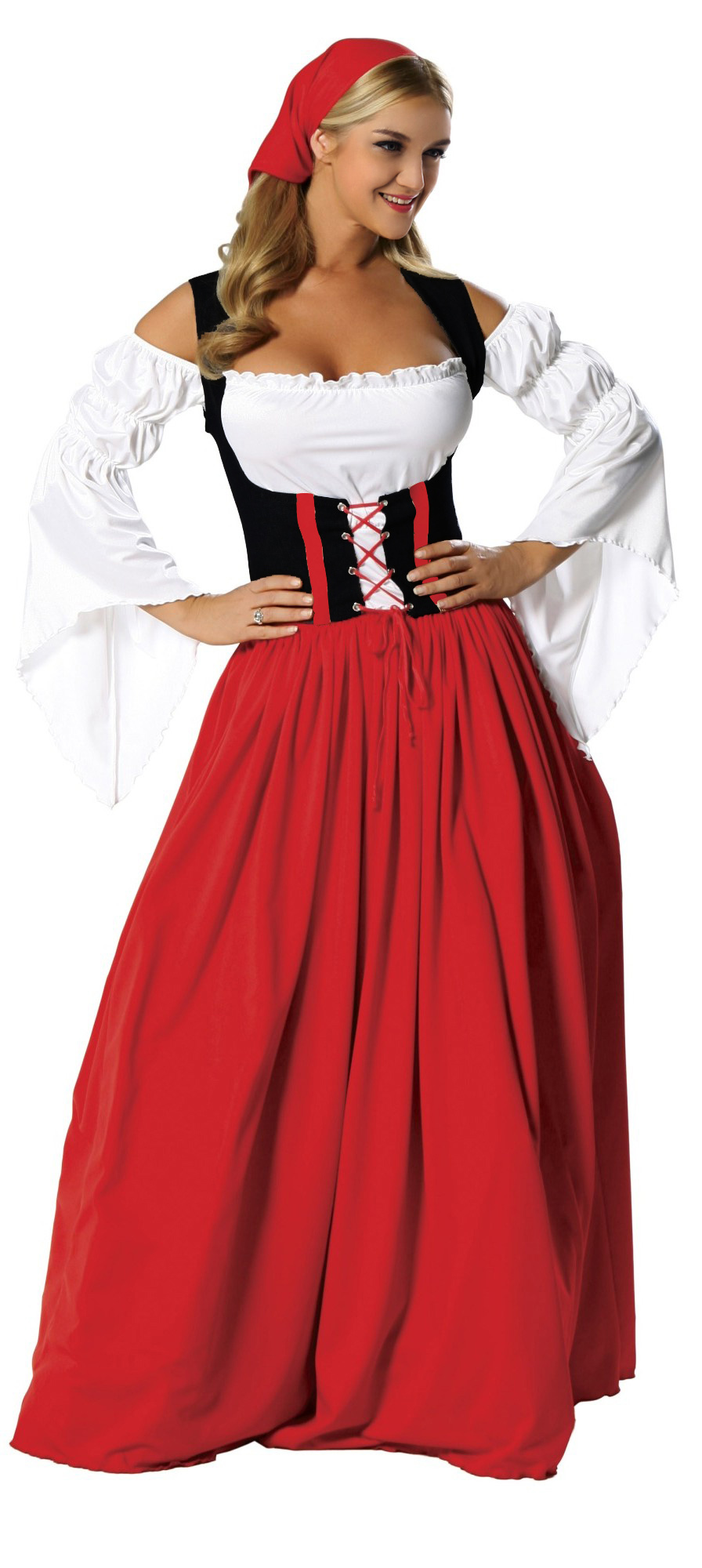 Swiss Miss Oktoberfest Costume, Swiss Miss Costume, German Beer Girl Wench Oktoberfest Costume, Maxi Oktoberfest Dress, Red-white Maxi Oktoberfest Costume#N5979