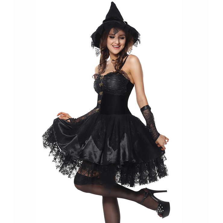 The Bad Enchantress Costume, Wicked Witch Costume, Black Witch Costume, Sexy Witch Halloween Costume, Gothic Black Lace Witch Dress, Braces Black Lace Witch Dress #N9168