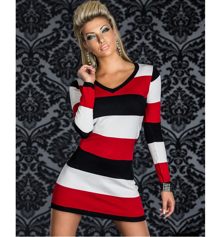 Three Colour Striped Long Sleeves Dress N8422