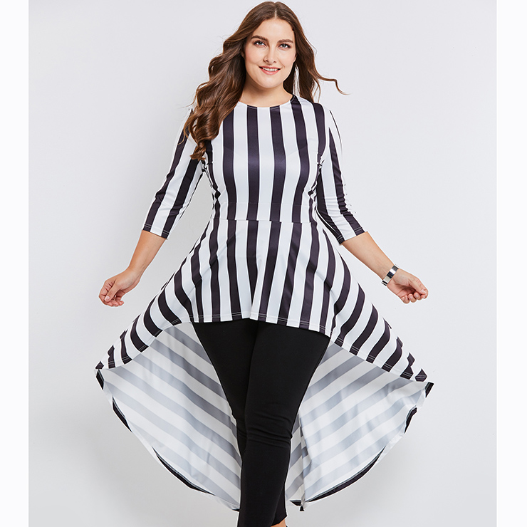 Womens Three Quarter Sleeve Round Neck Striped Plus Size Dress N15634