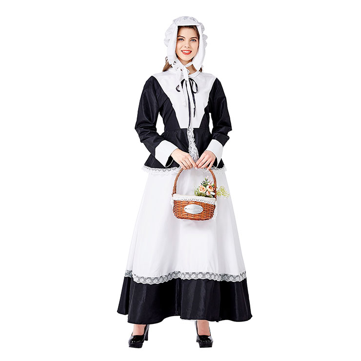 Medieval Pastoral Outfit Traditional House Maid Long Dress Adult Cosplay Party Costume N20736
