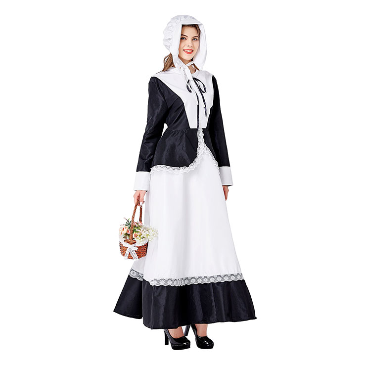 Traditional House Maid Costume, French Maide Costume, 2 Piece Maiden Cosplay Costume, Black and White Maid Costume, Halloween Maid Cosplay Adult Costume, Medieval Pastoral Outfit, #N20736