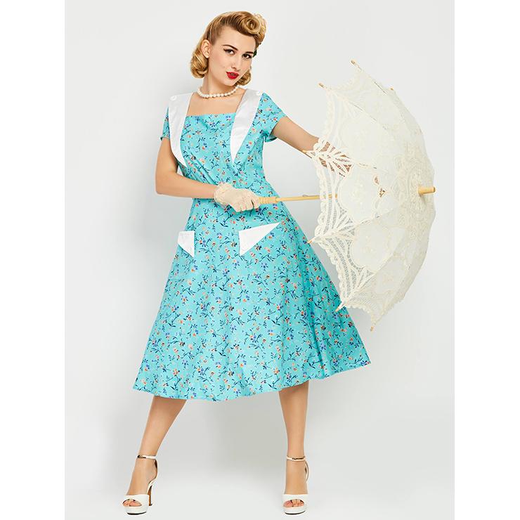 38b9f9294f3a Turquoise Square Neck Women s Midi Dress N14234