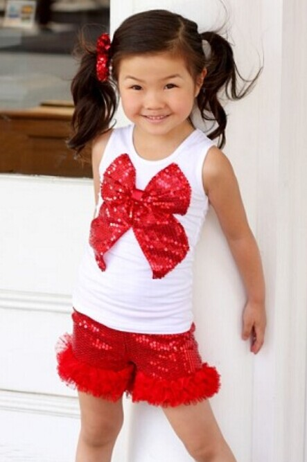 Cheap Little Girl Outfits , Red And White Sequins Tops, Plume Edging Shorts, #N9736
