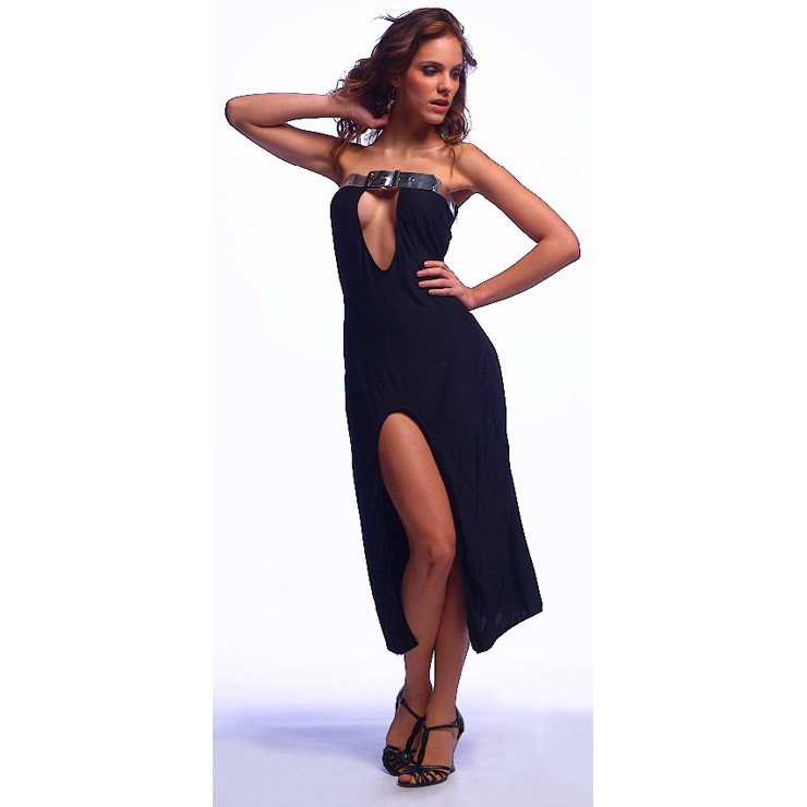 Sexy Sliver Belt Stripless Hollow Out Split Black  Gown W1155